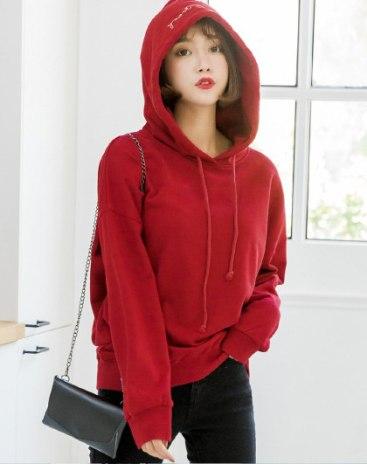 Red Elastic Long Sleeve Loose Women's Sweatshirt