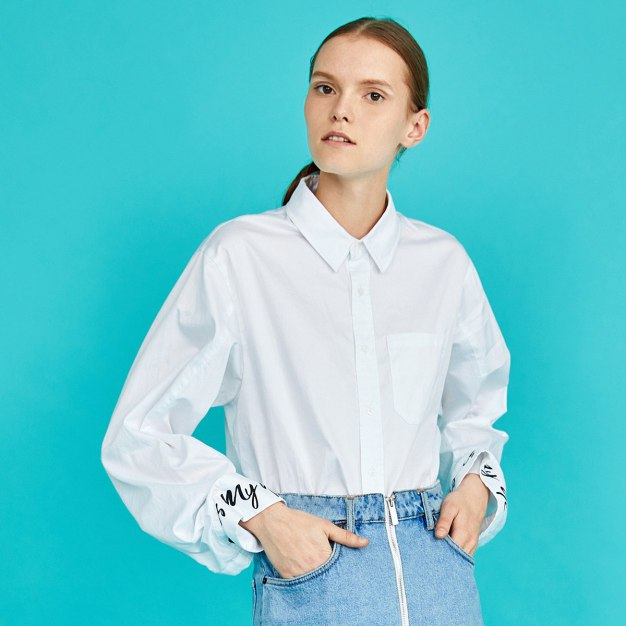 White Lapel Long Sleeve Loose Women's Shirt