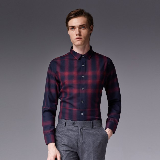 Red Square Neck Long Sleeve Standard Men's Shirt