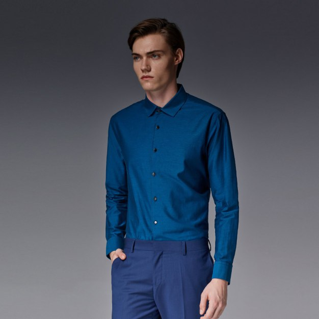 Green Plain Square Neck Long Sleeve Standard Men's Shirt
