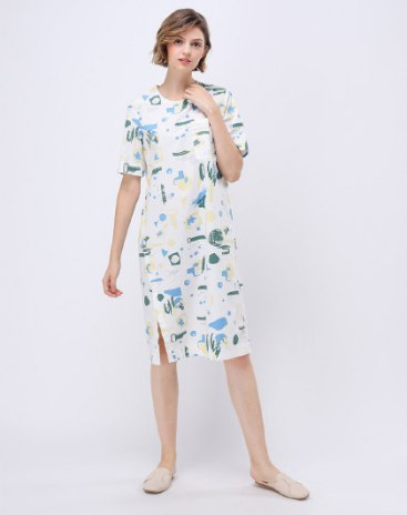 Short Sleeve 3/4 Length Loose Women's Dress