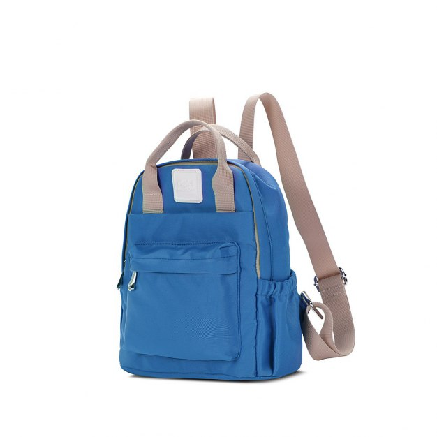Blue Oxford Cloth Medium Plain Women's Backpack