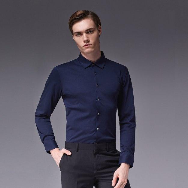 Blue Plain Square Neck Long Sleeve Standard Men's Shirt