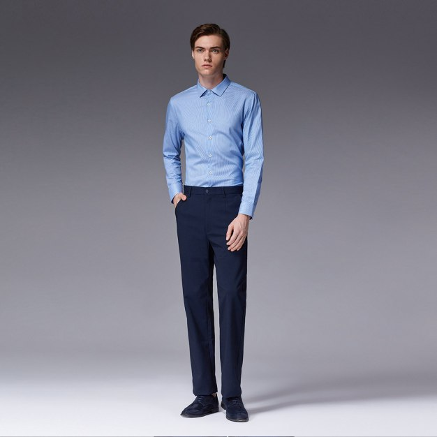 Blue Stripes Square Neck Long Sleeve Standard Men's Shirt