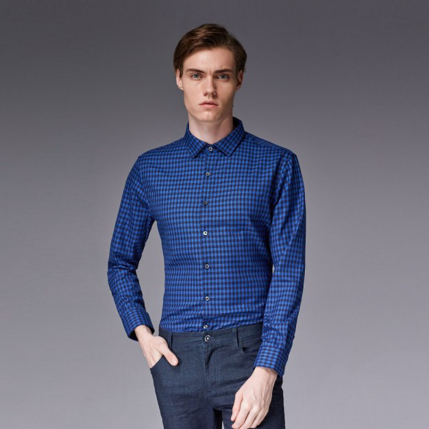Blue Square Neck Long Sleeve Standard Men's Shirt