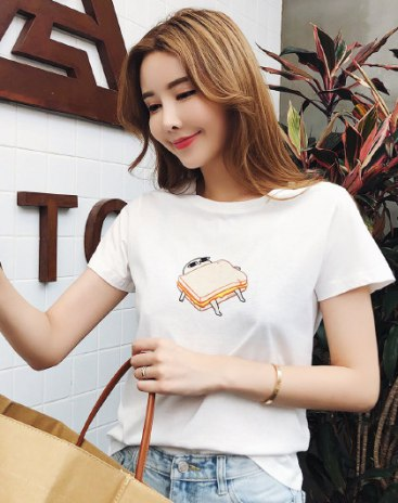 White Sketch Round Neck Short Sleeve Fitted Women's T-Shirt