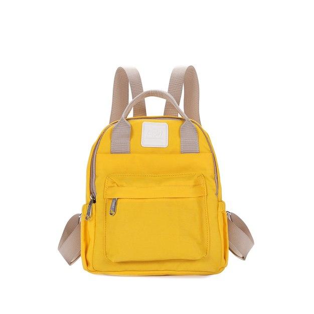 Yellow Oxford Cloth Medium Plain Women's Backpack