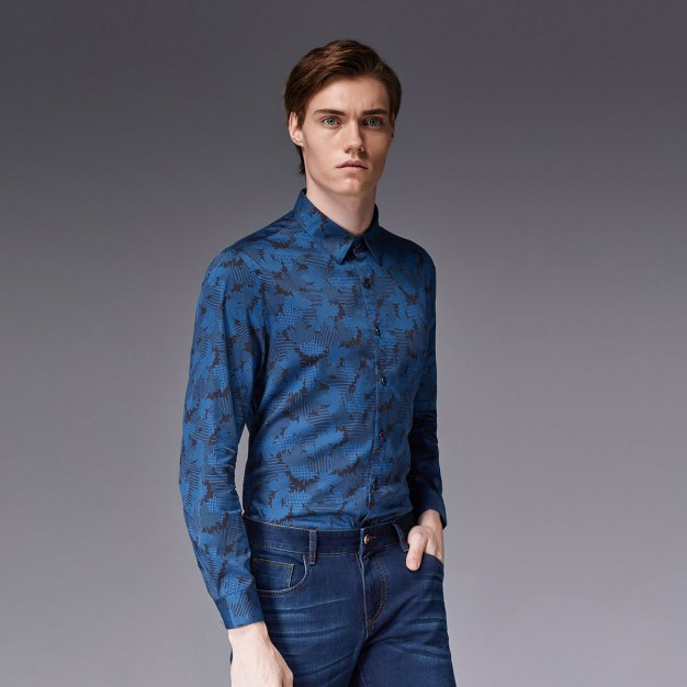 Print Square Neck Long Sleeve Standard Men's Shirt
