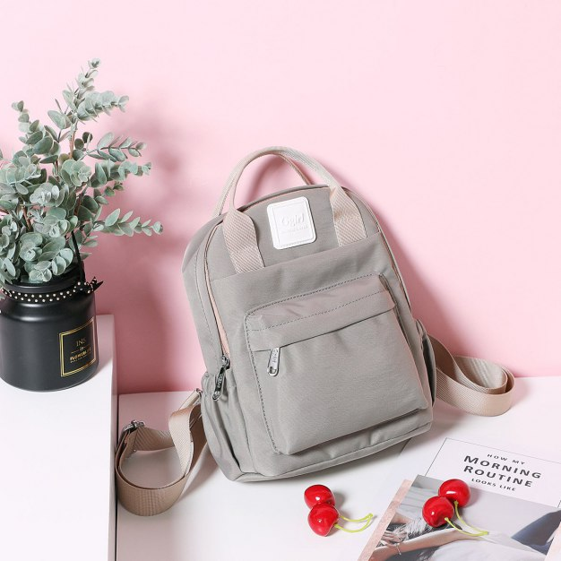 Gray Oxford Cloth Medium Plain Women's Backpack