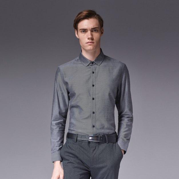Gray Stripes Square Neck Long Sleeve Standard Men's Shirt