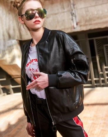Black Plain Stand Collar Long Sleeve Loose Women's Jacket