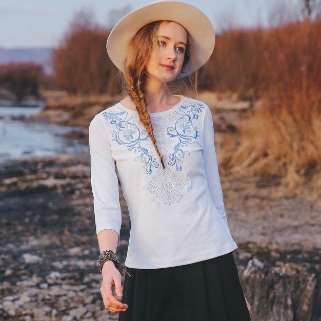 White Round Neck 3/4 Sleeve Standard Women's T-Shirt