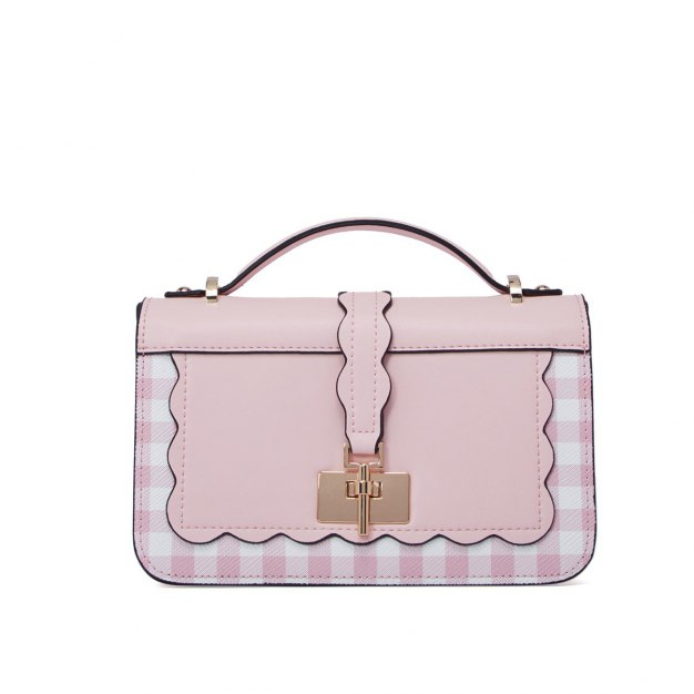 Pink Cowhide Leather Small Women's Crossbody Bag