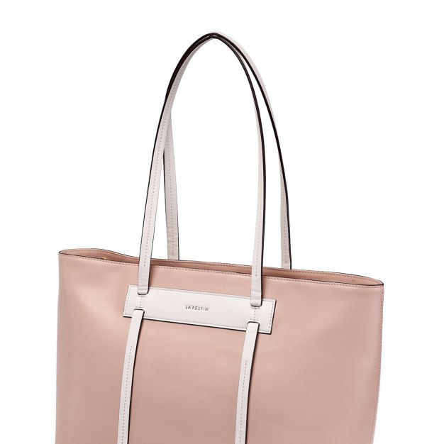 Nude Plain Cowhide Leather Big Women's Tote