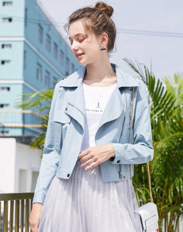 Blue Plain Lapel Long Sleeve Standard Women's Outerwear