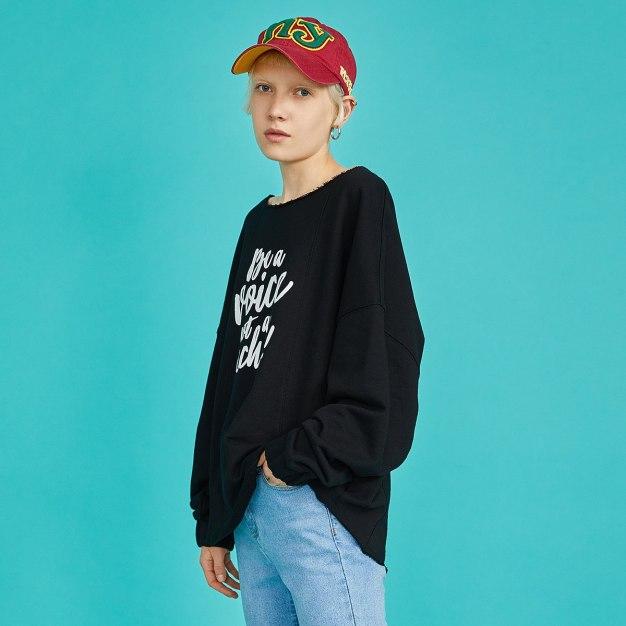 Black Off Neckline Long Sleeve Loose Women's Sweatshirt