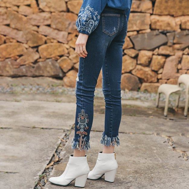 Blue Rough Selvedge 3/4 Length Women's Jeans