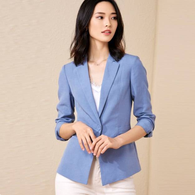Blue Suit Collar One Botton 3/4 Sleeve Women's Suit & Blazers