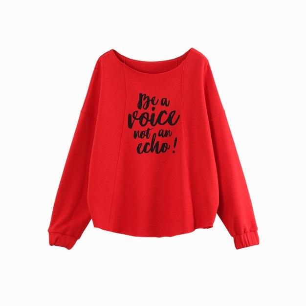 Red Off Neckline Long Sleeve Loose Women's Sweatshirt