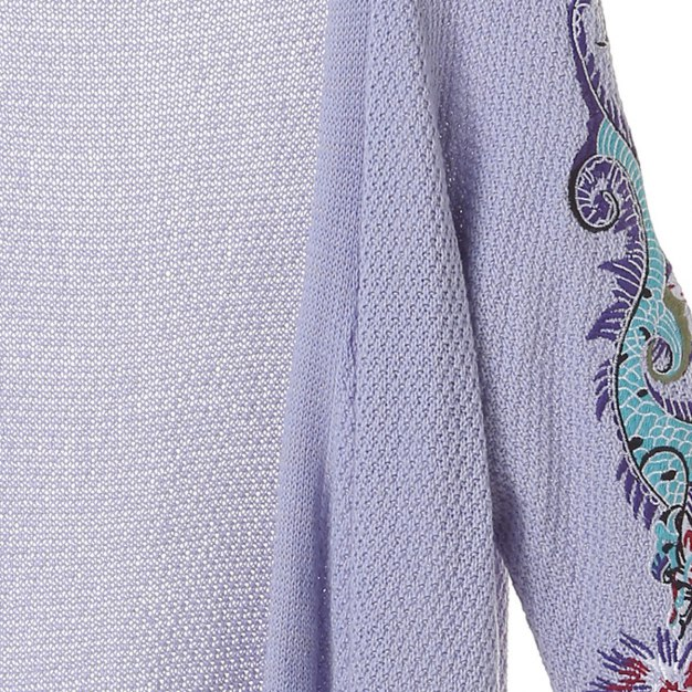 Purple Embroidery Collarless Elastic Women's Knitwear