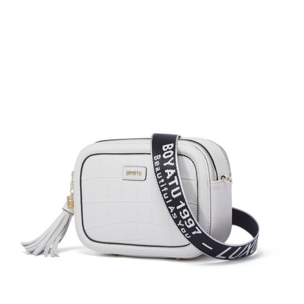 White Cowhide Leather Small Women's Crossbody Bag