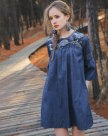Blue Round Neck 3/4 Sleeve Loose Women's Dress