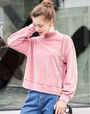 High Neck Elastic Long Sleeve Standard Women's Sweatshirt