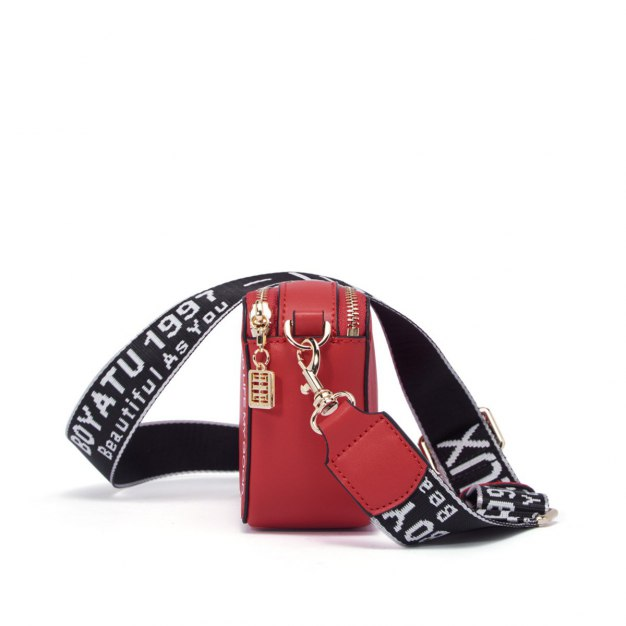 Red Cowhide Leather Small Women's Crossbody Bag