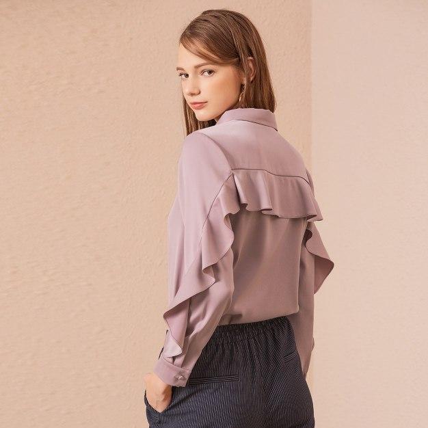 Plain Shirt Collar Single Breasted Long Sleeve Women's Shirt