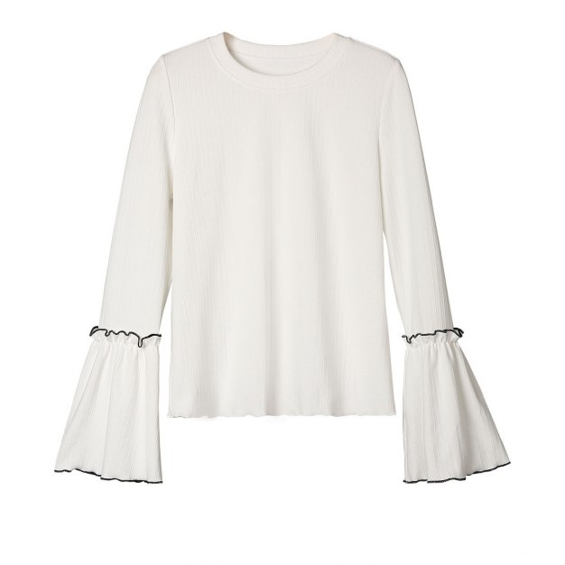 White Plain Round Neck Long Sleeve Standard Women's T-Shirt