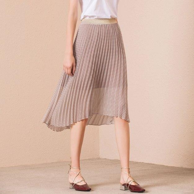 Coffee Waist High Low Women's Pleated Skirt