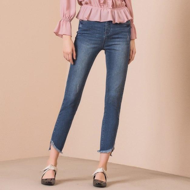 Blue High Waist Tassels Women's Jeans