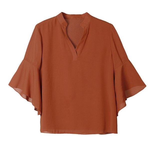 Orange Plain V Neck 3/4 Sleeve Loose Women's Shirt