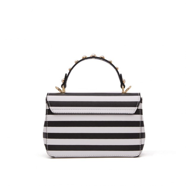 White Stripes Cowhide Leather Small Women's Tote