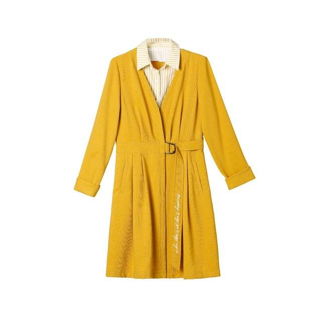 Yellow Shirt Collar Long Sleeve High Waist Women's Dress