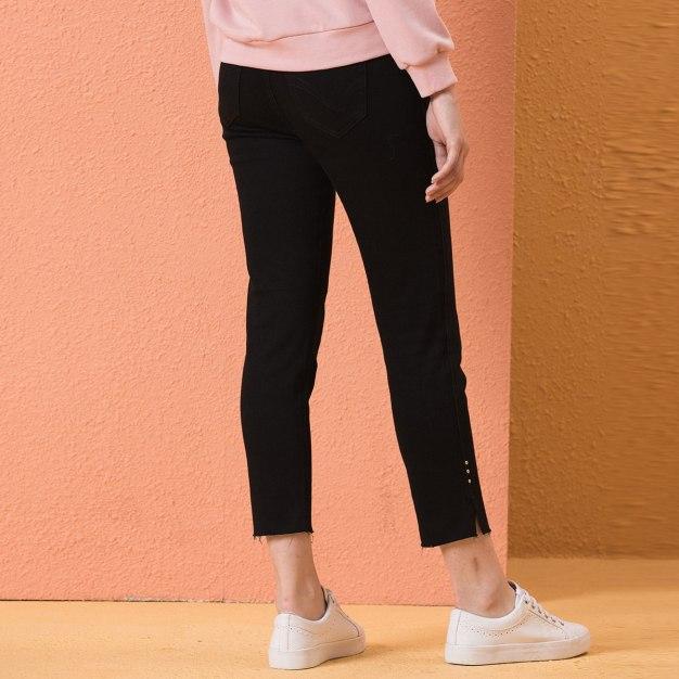 Black High Waist Slit Women's Jeans