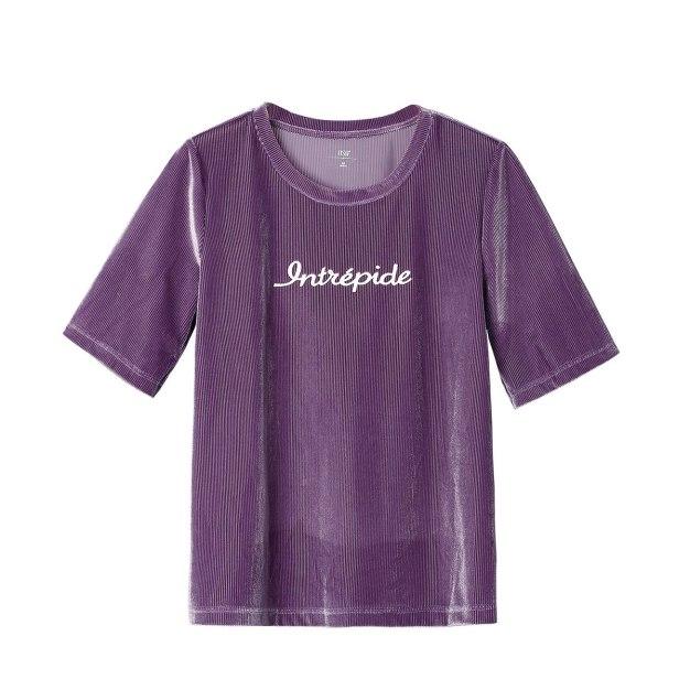 Purple Round Neck Short Sleeve Loose Women's T-Shirt