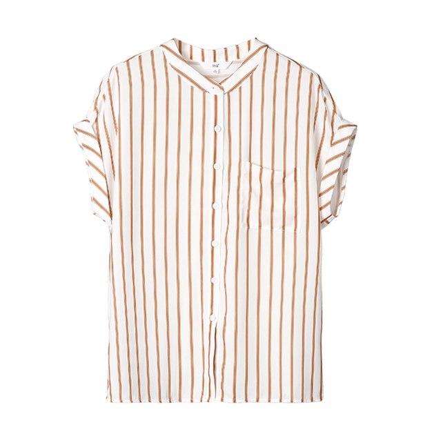 Stripes Stand Collar Short Sleeve Women's Shirt