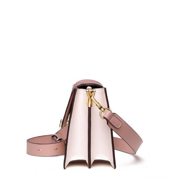 White Plain Cowhide Leather Medium Women's Shoulder Bag