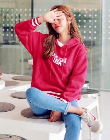 Red Long Sleeve Loose Women's Sweatshirt