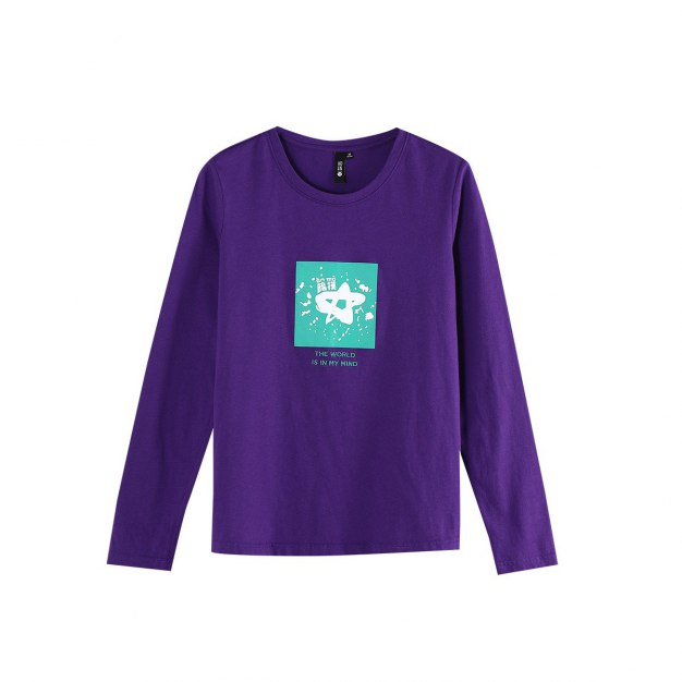 Purple Round Neck Long Sleeve Standard Women's T-Shirt