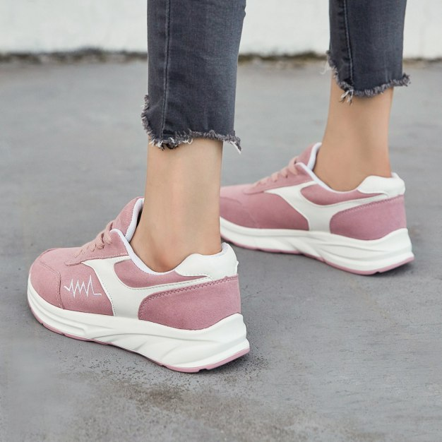 Pink Round Head Flat Women's Outdoor Shoes