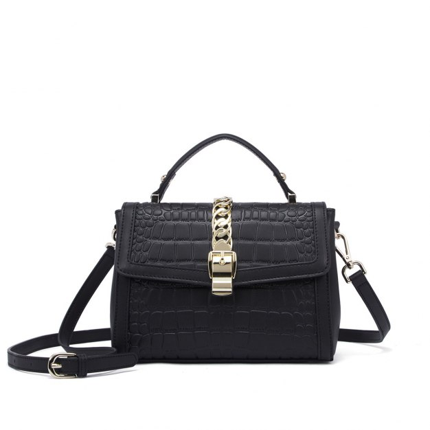 Black Cowhide Leather Small Women's Tote
