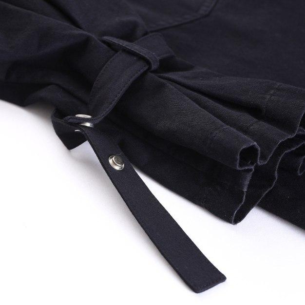 Black Lapel Long Sleeve Women's Windbreaker