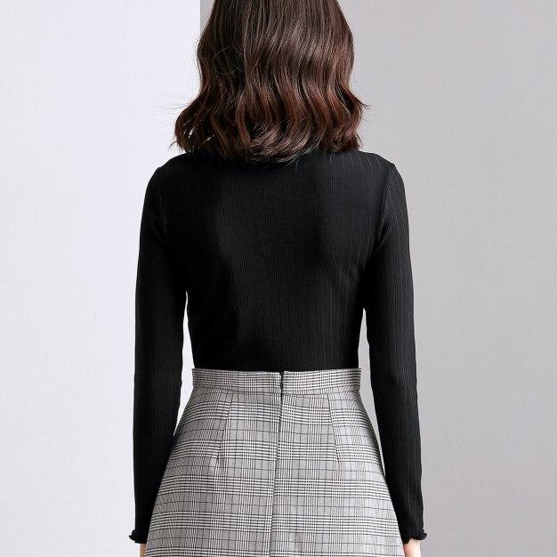 Black Half High Collar Long Sleeve Fitted Women's T-Shirt