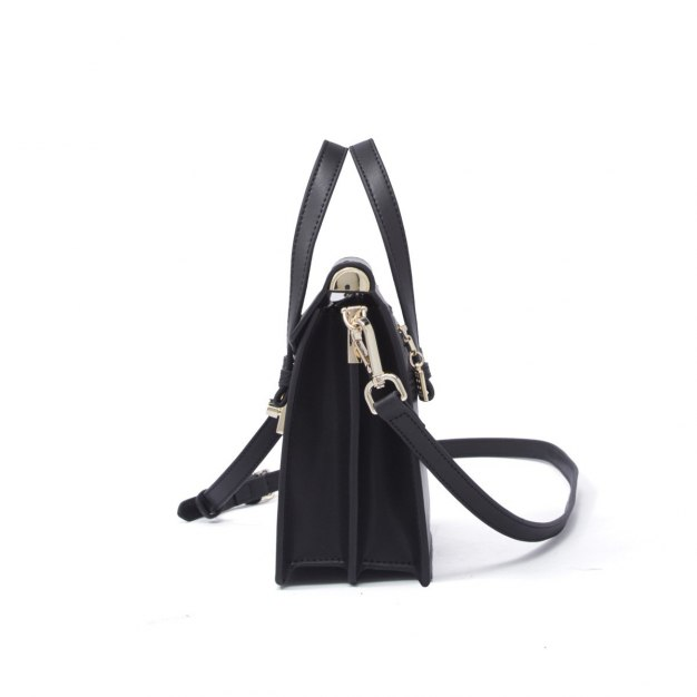 Black Plain Cowhide Leather Organ Bag Small Women's Tote