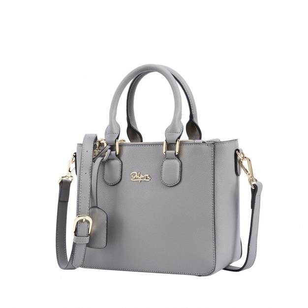 Gray Plain Cowhide Leather Tote Bag Medium Women's Tote