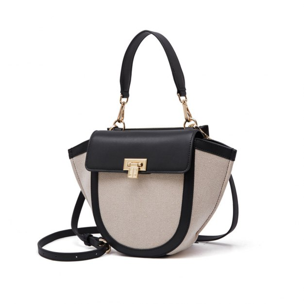 Black Plain Woven Bag Small Women's Crossbody Bag