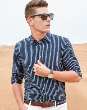 Purple Lapel Long Sleeve Standard Men's Shirt