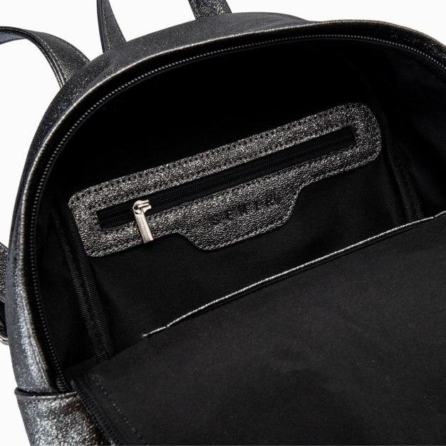 Black PU Medium Plain Women's Backpack